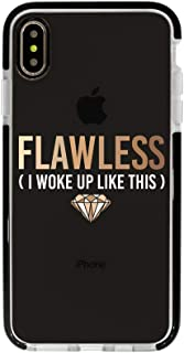 Ultra Slim iPhone Case - Silicone Protective Cover - Compatible for iPhone Xs Max - Flawless I Woke Up Like This - Melanin Queen - Melanin Poppin - Cool Case - Black Flexible Soft TPU Cover Case