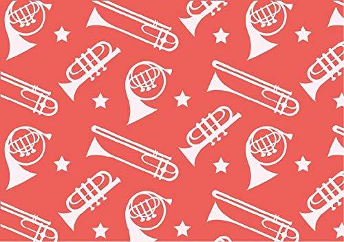 1 metro – Trompetas de color rosa 100% algodón egipcio tela instrumentos de música impreso material de costura ajustado tejido 112 cm de ancho impreso Dressmaking Material ajustado 112 cm de ancho