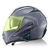 Skyout Casco Motocicleta Modular con Bluetooth, Abatible hacia Arriba Casco Moto Adultos con Visor Dual Antivaho y Luz Trasera De Seguridad Aprobado ECE/Dot G,L=59~60cm