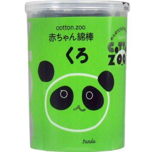 (セット販売)コットンZOO 赤ちゃん綿棒 くろ 水滴型 160本入×4個セット