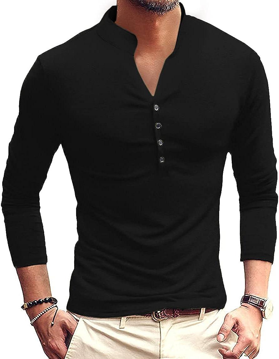 ORANDESIGNE Mens Long Sleeve Shirts Polo Neck Half Button Down Beach Yoga Casual Autumn Shirts Stylish Basic Tops