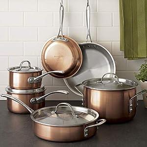 Calphalon Tri-Ply Copper 10 Piece Set, Brown