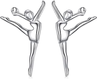 S925 Sterling Silver Gymnastics Sport Girl Charm Stud Earrings Inspirational Jewelry Gifts for Women,Gymnasts , Coaches