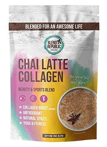 Chai Latte Collagen ⍟ Collagen Pulver + Chai Spices ⍟ Kollagen Pulver mit Ballaststoffen und Vitamin C ⍟ Kollagen Peptide Type I, II und III ⍟ Beauty Collagen Drink ⍟ 30 Portionen 300g