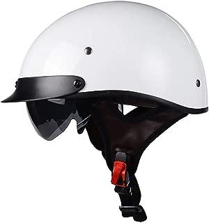 WeeLion DOT Certified Helmet Retro Motorcycle Half Helmet with Sun Visor and Built-in Sunglasses for Men and Women Summer Harley Helmet,White,L