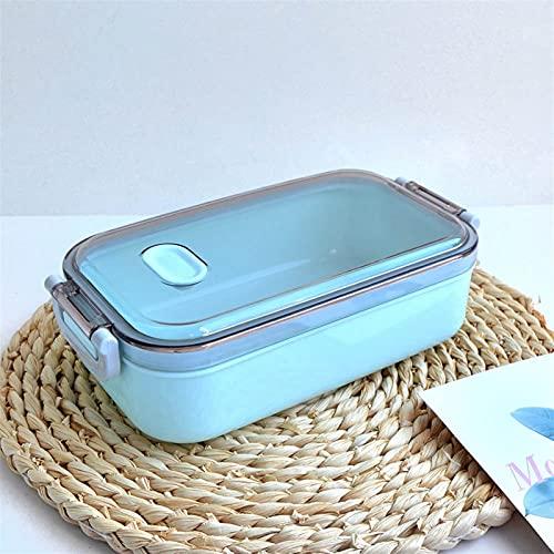 DFGDFG Caja de Almuerzo de Acero Inoxidable 800ml-Capacidad Microondas de calefacción Portátil Bento Caja de bento Cena Recipiente de Alimentos para Adultos (Color : Blue)