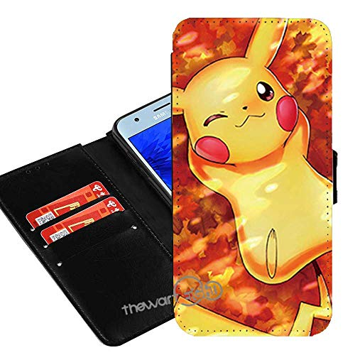 Case for Samsung Galaxy A10e, Pokemon Pikachu Anime Manga Comic PU Leather Flip Folio Wallet Case Cover w/ID Card Slot +Thewart8 Stylus Pen (#185)