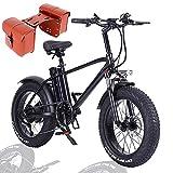 750W Bicicleta De Montaña Eléctrica para Adultos, 20 Pulgadas E-Bike, Shimano-7 Velocidades Batería Extraíble de 48V 15Ah, Marco de Aluminio, Freno de Disco, 50KM/h,+ Bag