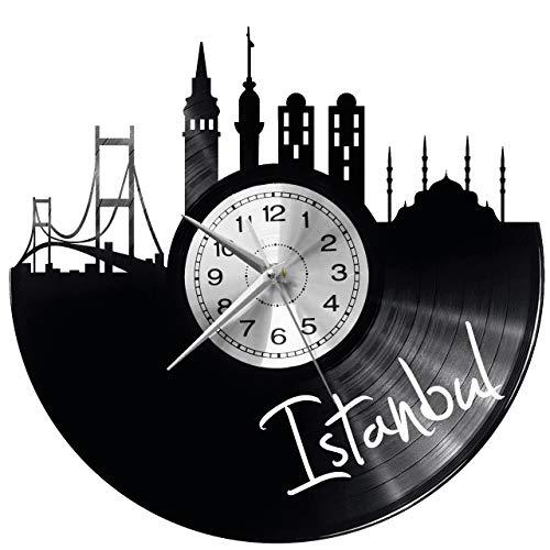 Istanbul Wanduhr Uhr Vinyl Schallplatte Retro-Uhr groß Uhren Style Raum Home Dekorationen Tolles Geschenk Decor Raum Inspirierende Wand Vinyl Record Kovides Vinyl Home