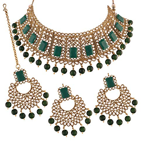 I Jewels Traditional Gold Plated Beads & Kundan Choker Necklace Jewellery Set With Maang Tikka for Women (ML232G)
