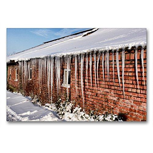 Premium Textil-Leinwand 90 x 60 cm Quer-Format Scheune im Winter | Wandbild, HD-Bild auf Keilrahmen, Fertigbild auf hochwertigem Vlies, Leinwanddruck von Thomas Becker