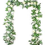 Hilai 2.5M Simulation Rose Fleur Artificielle Fleur de Vigne en rotin Soie Wisteria Garland Suspendu en rotin Arch Mariage de Jardin décorations Décoration d'intérieur-1pc