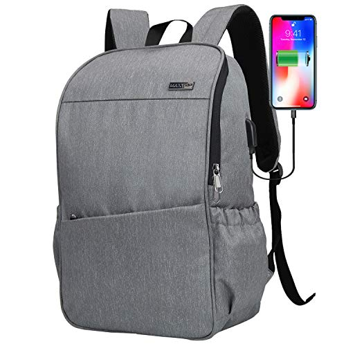 Laptop Backpack for Women Men with USB Charging Port[Water Resistant] Computer Backpack School College Bookbags Business Travel Backpack Fits up to 16-inch Notebook (Gray)