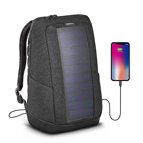 SunnyBAG® Iconic Solar-Rucksack mit integriertem 7 Watt Solarpanel - Smartphone, Tablet, Smartwatch, Powerbank unterwegs mit Solarenergie Laden - mit Laptopfach und 20l Volumen - Graphite
