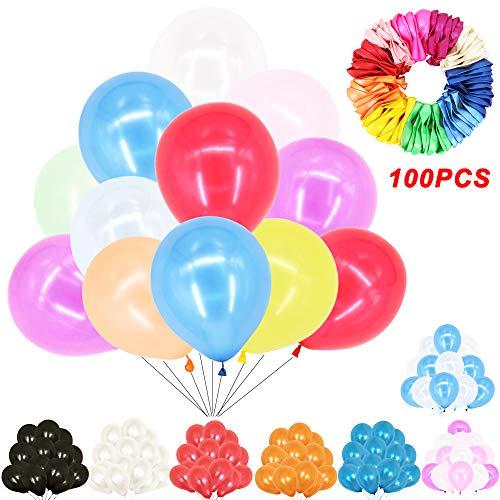 TtS 100 Piezas Globos de Fiesta de Látex de Diversos Colores Globos Decoraciones para Bodas, Fiestas de Cumple (Latex-Mezclar Colores)