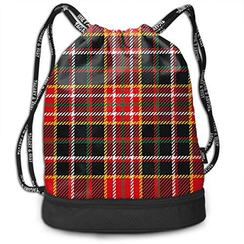 Multipurpose Drawstring Bag for Men & Women, Vertical and Horizontal Lines Tartan Backdrop Scottish Fashion and Culture Inspired,Tote Sack Large Storage Sackpack for Gym Travel Hiking