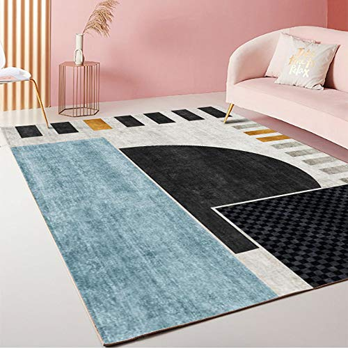 LMDY carpet modern light luxury style home living room carpet bedroom bedside floor mats hotel abstract square geometric decorative carpet80*200cm