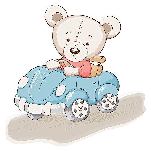 Wandtattoo Babyzimmer Tiere Wandsticker Teddybär mit einem blauen Auto Wandtatt