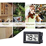 Meggsi 2-pack mini digital hygrometer gauge indoor thermometer, lcd monitor temperature outdoor humidity meter for… 14 mini, durable and portable, measuring humidity and temperature for indoor/outdoor. Fast response that measures every 10 seconds with 24 sensitive vents to provide updated and accurate readings. Fahrenheit (℉) display, this thermometer displays temperature in fahrenheit(℉). Comes with a gift kit (extra lr44 batteries+double-side tapes). Measuring humidity range :10%-99%rh, measuring humidity accuracy: +/-5%.