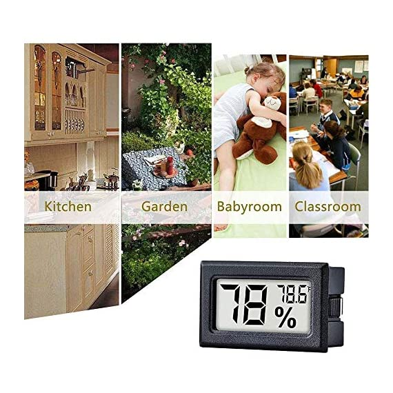 Meggsi 2-pack mini digital hygrometer gauge indoor thermometer, lcd monitor temperature outdoor humidity meter for… 7 mini, durable and portable, measuring humidity and temperature for indoor/outdoor. Fast response that measures every 10 seconds with 24 sensitive vents to provide updated and accurate readings. Fahrenheit (℉) display, this thermometer displays temperature in fahrenheit(℉). Comes with a gift kit (extra lr44 batteries+double-side tapes). Measuring humidity range :10%-99%rh, measuring humidity accuracy: +/-5%.