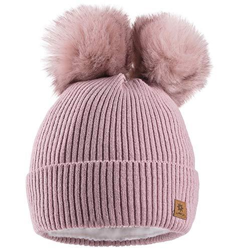 MFAZ Morefaz Ltd Mujer Gorro de Invierno Beanie Sombrero De Invierno Doble Pompón Esquí de Moda (Rose Pink)