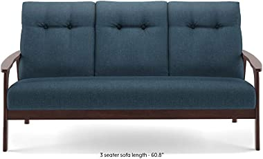 Urban Ladder Amos Wooden Sofa 3 Seater, Colour-Blue