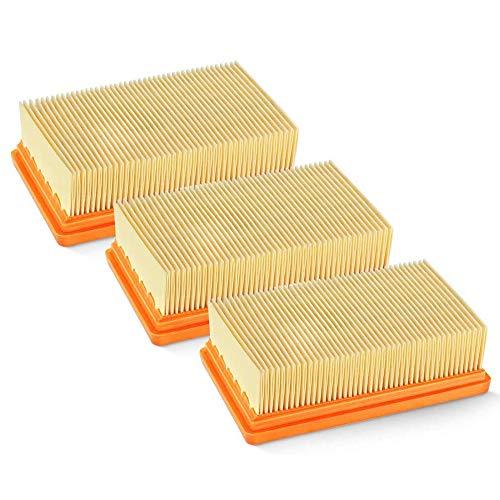 IWILCS 3PCS Filtros para aspiradora Karcher, Filtro Plegado Plano [WD4, WD5, WD6/MV4, MV5, MV6] para alérgicos contra Polvo Fino y olores