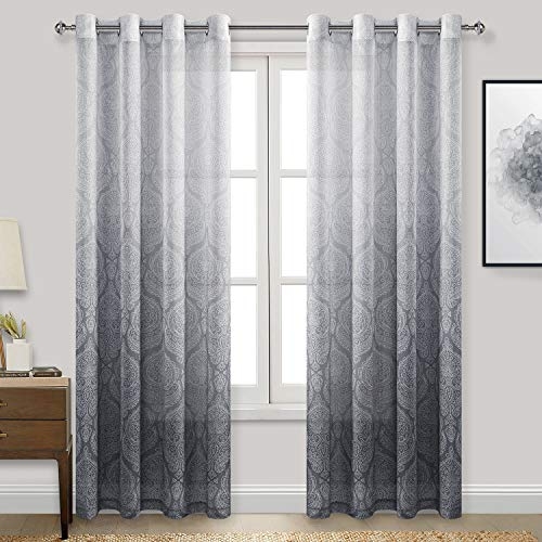 DWCN Grey Damask Ombre Sheer Curtains for Living Room - Faux Linen Gradient Grommet Voile Curtains for Bedroom, 2 Window Curtain Panels, 52 x 96 inches Long