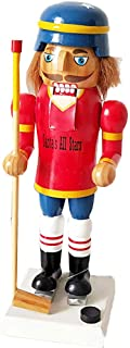 Microheal 25CM Puckster Nutracker with ice Hockey Set Wooden Colletible Ornament for Home Decor
