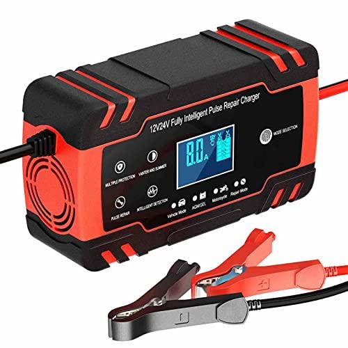 YSDQ 8A 12V / 4A 24V Coche Cargador de Bateras, Pantalla LCD Cargador de Batera de Coche Inteligente Completamente Automtico, para Utiliza en Cargador Bateria de Automviles, Motocicletas