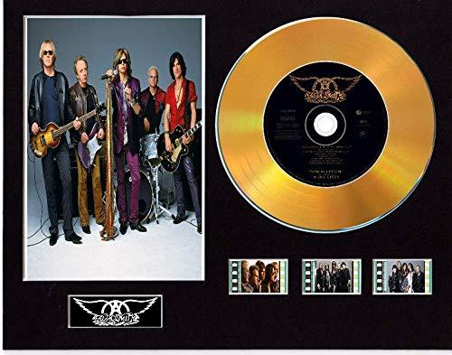 Aerosmith - Pantalla de CD con efecto de vinilo, disco negro o dorado y 3 celdas de película (disco dorado, no quiero perder una cosa sin marco)