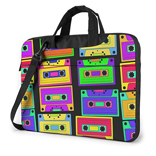 15.6 inch Laptop Shoulder Briefcase Messenger Bright Retro Cassettes Tablet Bussiness Carrying Handbag Case Sleeve