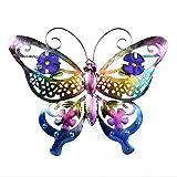 Marooma - Decorazioni da parete con oggetti in metallo farfalla 3D, decorazioni da giardino pensili, decorazioni da parete soggiorno per recinzioni da giardino