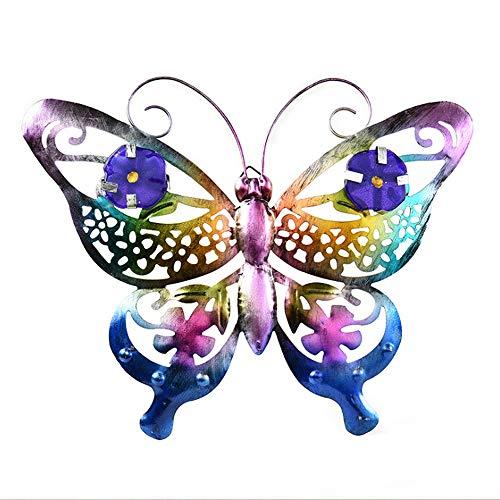 Happyshop18 - Decoración de pared de metal, diseño de mariposas de metal, decoración para interiores y exteriores, diseño de mariposas