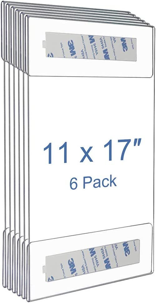 Home 6 Pack No Drilling Store Niubee 11x14 inch Wall Mount Acrylic Sign Holder with 3M Tape Adhesive for Office Restaurant Vertical