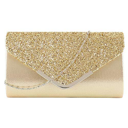 MEGAUK Damen Clutch Glitzer Elegant Abendtasche Glänzend Handtasche Envelope Tasche Strass Unterarmtasche mit Kette für Hochzeit Wedding Prom Party (Mode Gold)