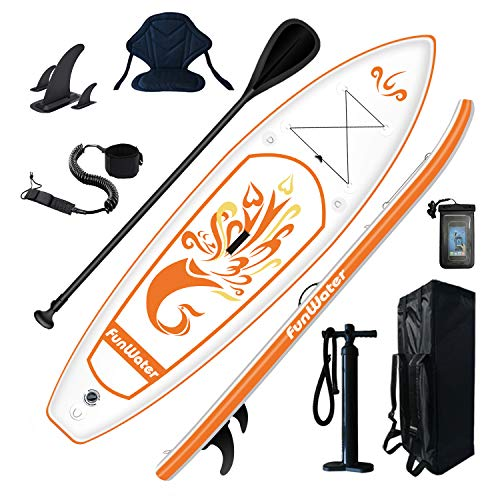 FunWater Stand Up Paddle Board 10'x31''x6'' Ultra-Light (17lbs) Inflatable Paddleboard with ISUP Accessories,Fins,Adjustable Paddle, Pump,Backpack, Leash, Waterproof Phone Bag,Kayak Seat