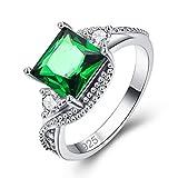 YAZILIND Anillo Promesa Verde Cuadrado Cubic Zirconia Platino Chapado En Diamantes de...