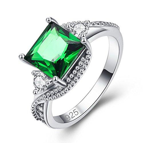 YAZILIND Anillo Promesa Verde Cuadrado Cubic Zirconia Platino Chapado En Diamantes de Imitación Compromiso de Boda para Las Mujeres Tamaño 16.5