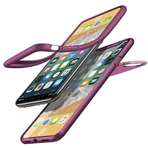KunyFond Silicone TPU Coque Verre Trempé 3 in 1 360 Degres Integral Avant+Arriere Absorption Choc Double Faces Housse Étui Flexible Mince Hybride Etui Bumper Couverture Compatible iPhone X/10-Violet
