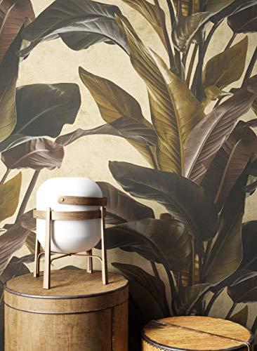 NEWROOM Tapete Gold Vliestapete Blumen - Blumentapete Floral Braun Schwarz Blätter Dschungel Blätter Tropisch Mustertapete inkl. Tapezier-Ratgeber