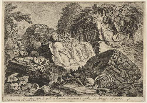 Giovanni Battista Piranesi Giclée Leinwand Prints Gemälde Poster Wohnkultur Reproduktion(Antiker Altar, auf dem Opfergaben in der Antike, umgeben von anderen Ruinen, ausgeführt wurden) #XFB