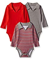 Hanes Ultimate Baby Flexy 3 Pack Long Sleeve Polo Bodysuits, Red/Grey Stripe, 0-6 Months