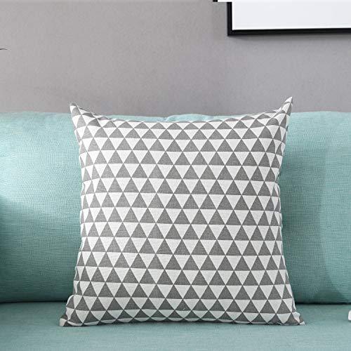 Funda de cojín de lino y algodón con diseño de triángulo, color gris/gay, funda de cojín decorativa para el hogar, funda de almohada con cierre de cremallera oculta, solo funda sin relleno, 45 x 45 cm