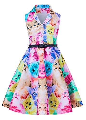 Cat Cami Dress Dress for 8t 9t Juniors Girl's Kawaii Brown Purple Red Kitty Zoo Floral Printed Summer Casual Wear Aline Lace One-Piece Dresses Nice Gift for Beautiful Big Young Kids 1960 Costume