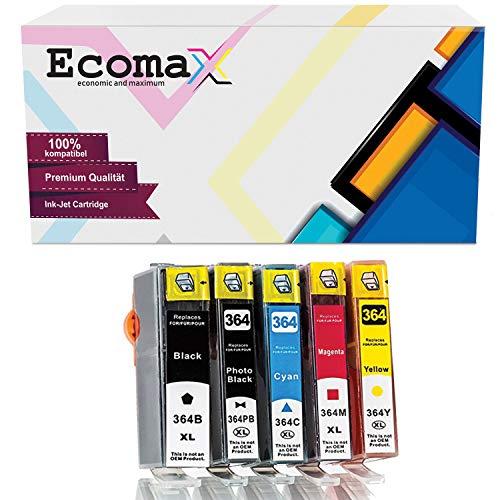 Ecomax 5 Multipack Druckerpatronen kompatibel zu HP 364XL für HP Photosmart 5510 5520 5524 6510 7520 B110A B109A B209A C310A, DeskJet 3070A 3522, OfficeJet 4620 4622