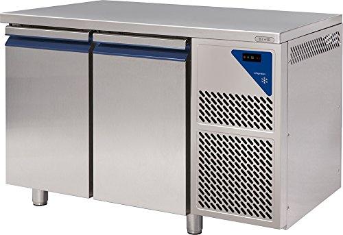 Gastlando - Mesa de refrigeración gastronómica de acero inoxidable, 2 puertas, 300 litros, 0° hasta +10°C.