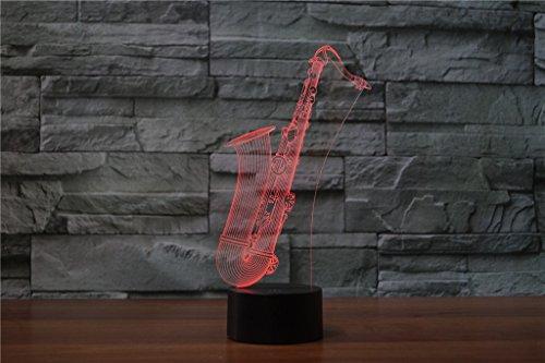 HYSENM 3D Nachtlampe LED Nachtlicht Dekoration Acryl für Kinderzimmer Wohnzimmer Musik-Serie, Saxophon