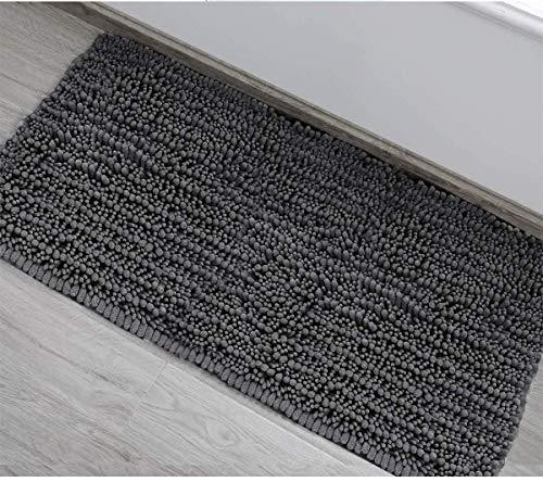 DEARTOWN Non-Slip Shaggy Bathroom Rug,Soft Microfibers Bath Mat with Water Absorbent, Machine Washable (20x32 Inches, Dark Grey)