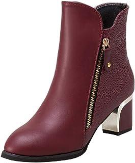 cb4f5e2591ad05 SANFAHION Bottines Femme Casual Bottes Boho Chic Chaussures à Lacets Mode  Martin Vintage